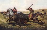 Tait Arthur Fitzwilliam Life on the Prairie-The Buffalo Hunt oil painting artist